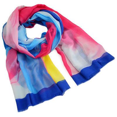 Šál klasický - modro-ružový - 1