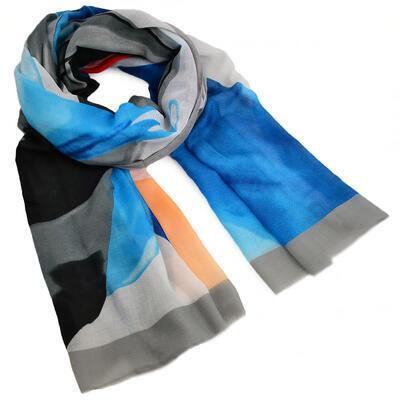 Šál klasický - sivo-modrý - 1
