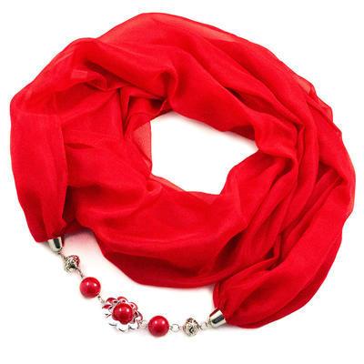 Šál s bižutériou Extravagant - červený - 1