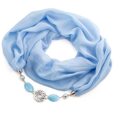 Šál s bižutériou Extravagant - modrý - 1
