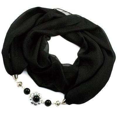 Šál s bižutériou Extravagant - čierny - 1