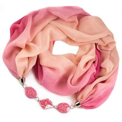 Šál s bižutériou Extravagant - ružový - 1