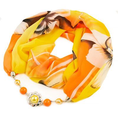 Šál s bižutériou Extravagant - žlto-oranžový - 1