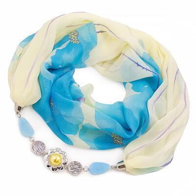 Šál s bižutériou Extravagant - žlto-modrý - 1