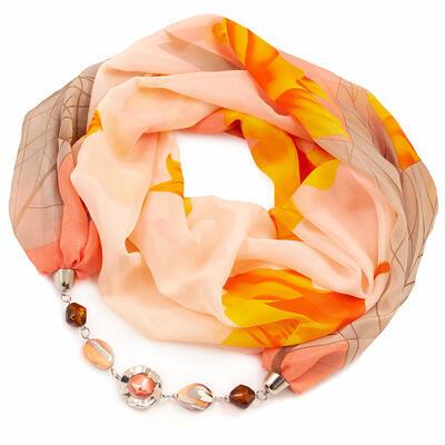 Šál s bižutériou Extravagant - oranžovo-hnedý - 1