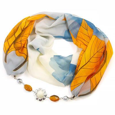 Šál s bižutériou Extravagant - sivo-oranžový - 1