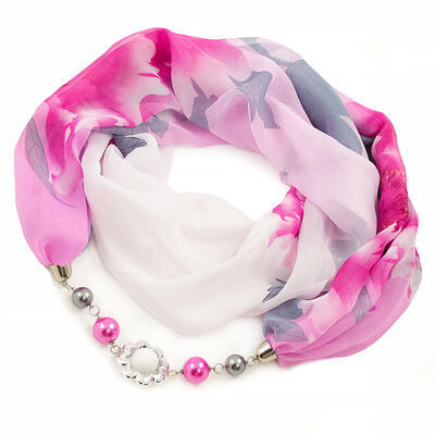 Šál s bižutériou Extravagant - bielo-ružový - 1