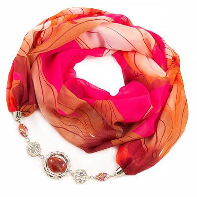Šál s bižutériou Extravagant - ružovo-hnedý - 1