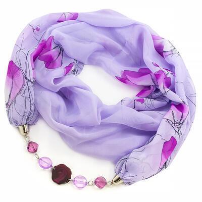Šál s bižutériou Extravagant - fialový - 1