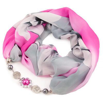 Šál s bižutériou Extravagant - sivo-ružový - 1