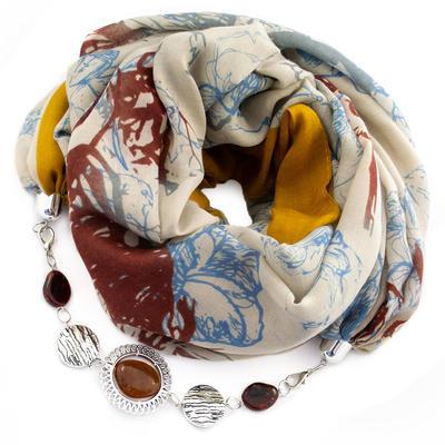 Šál s bižutériou bavlnený - béžovozlatý
