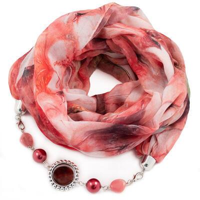 Šál s bižutériou bavlnený - červeno-biely