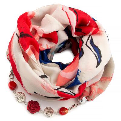 Šál s bižutériou bavlnený - bielo-červený