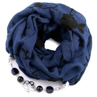 Šál s bižutériou bavlnený - modrý