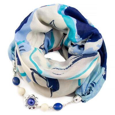 Šál s bižutériou bavlnený - bielo-modrý