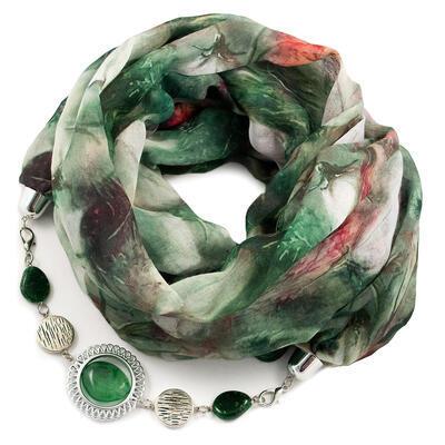 Šál s bižutériou bavlnený - zelený