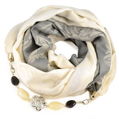 Šál s bižutériou bavlnený - sivobžový