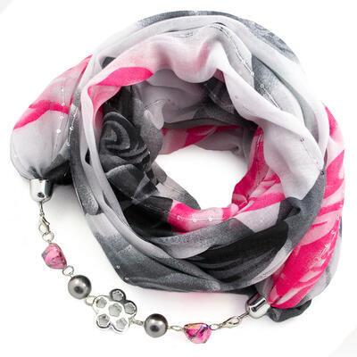 Šál s bižutériou bavlnený - sivo-ružový