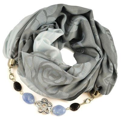 Šál s bižutériou bavlnený - sivomodrý