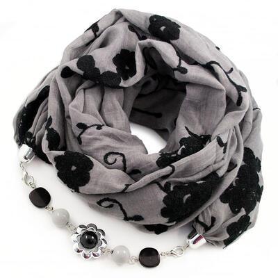 Šál s bižutériou bavlnený - sivo-čierny