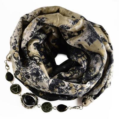 Šál s bižutériou bavlnený 450bb007-18.70 - béžovočierný