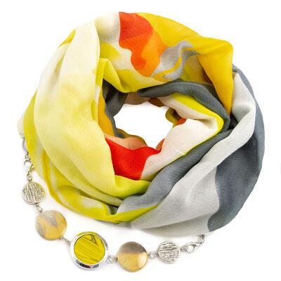 Šál s bižutériou bavlnený - žlto-sivý