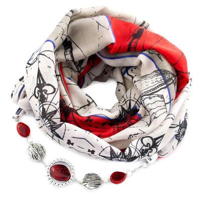 Šál s bižutériou bavlnený - béžovočervená