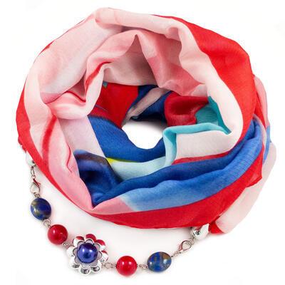 Šál s bižutériou bavlnený - červeno-modrý