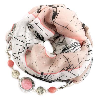 Šál s bižutériou bavlnený - ružovo-biely