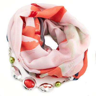 Šál s bižutériou bavlnený - ružovo-červený
