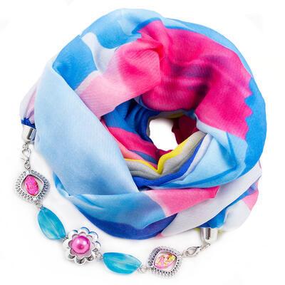 Šál s bižutériou bavlnený - modro-ružový