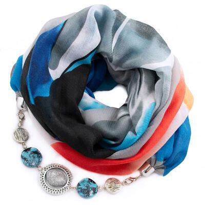 Šál s bižutériou bavlnený - sivo-modrý