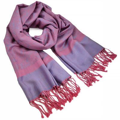 Šál teplý - ružovo-fialový
