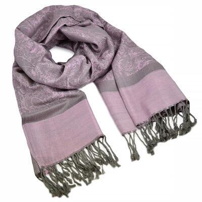 Šál teplý - ružovo-sivý - 1