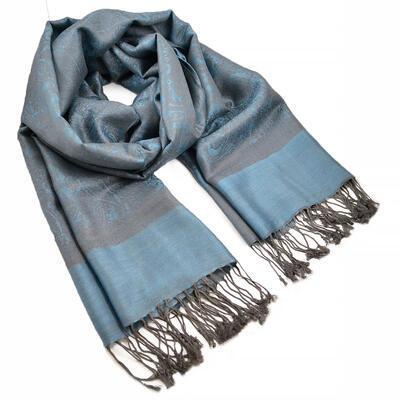 Šál teplý - modro-sivý