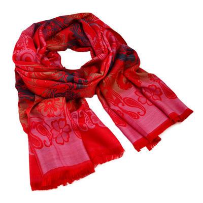 Šál teplý - červený