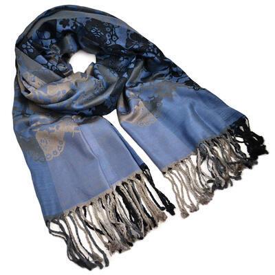 Šál teplý - modro-sivý s potlačou - 1