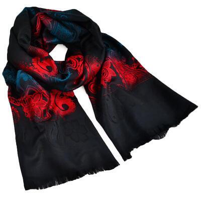 Šál teplý - čierno-červený - 1