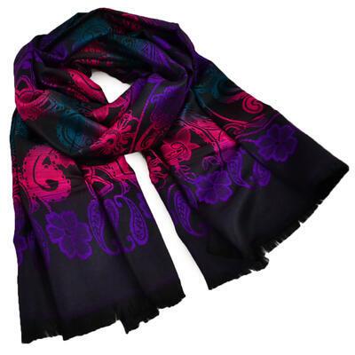 Šál teplý - čierno-fialový - 1