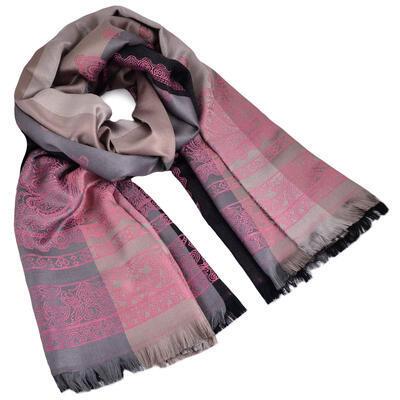 Šál teplý - sivo-ružový s potlačou - 1