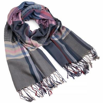 Šál teplý - modro-ružový s potlačou - 1