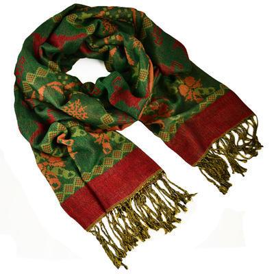 Šál teplý - zelenočervený - 1