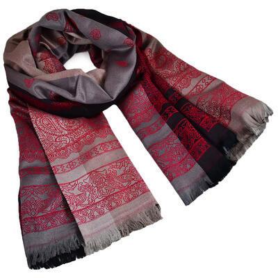 Šál teplý - sivo-červený s potlačou - 1