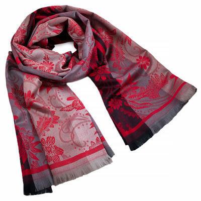 Šál teplý obojstranný - sivo-červený s potlačou - 1