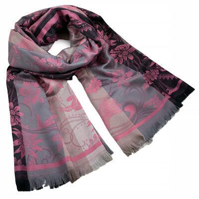 Šál teplý obojstranný - sivo-ružový s potlačou - 1