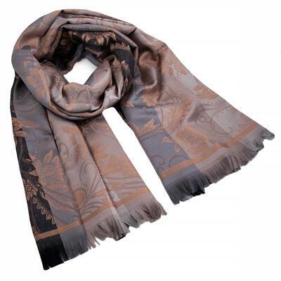 Šál teplý obojstranný - sivo-hnedý s potlačou - 1
