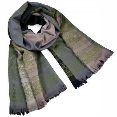 Šál teplý obojstranný - sivo-zelený s potlačou - 1
