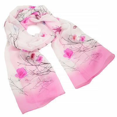 Šál klasický - bielo-ružový