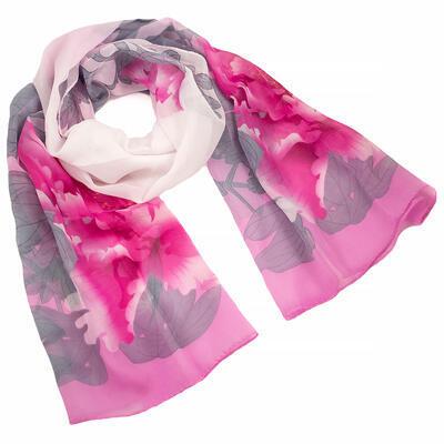 Šál klasický - ružovo-biely