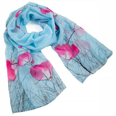 Šál klasický - modro-ružový
